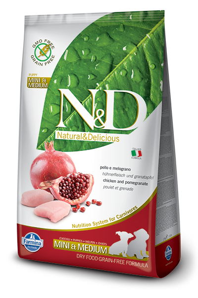 N&D GF DOG Puppy S/M Chicken&Pomegranate 800g